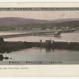 Tinted postcard showing Victor Harbour from Granite Island