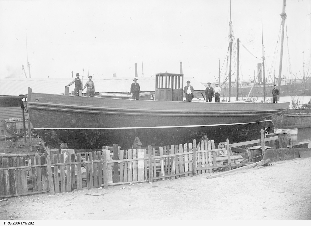 """The """"Anne E. Price"""", a launch under construction"""