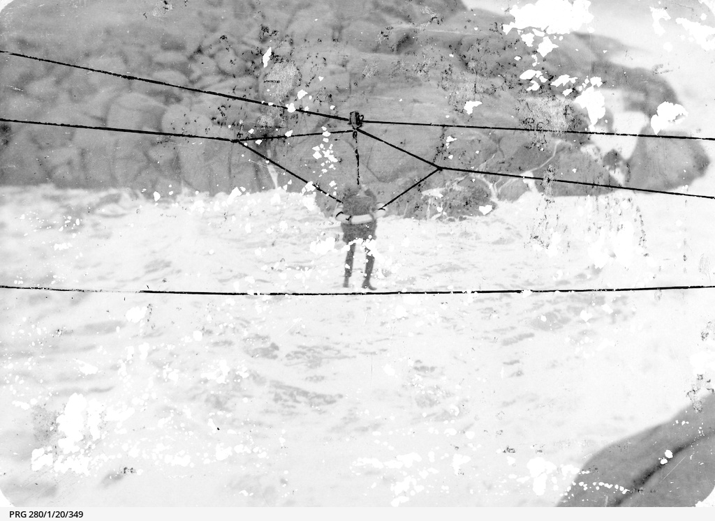 Life saving equipment bringing a man ashore at Port Elliot