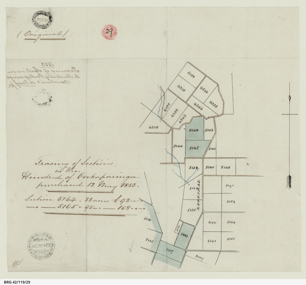 Tracing of sections in the Hundred of Onkaparinga purchased 1853 [cartographic material]