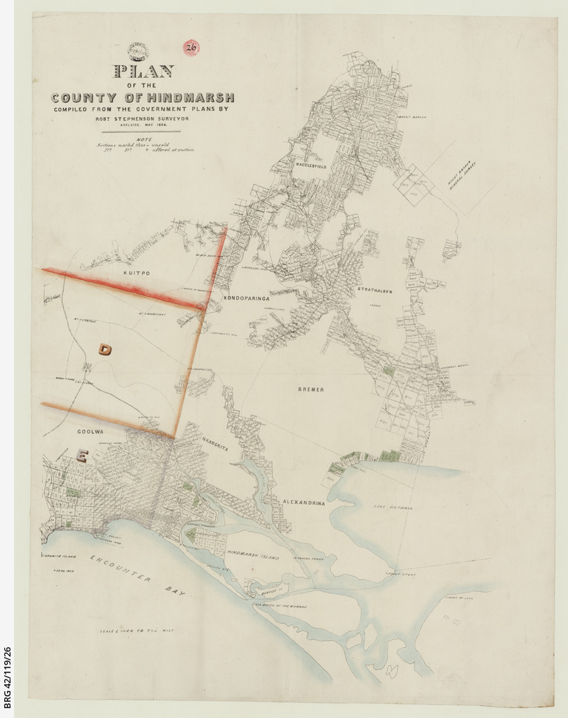 Plan of the County of Hindmarsh compiled from the Government plans [cartographic material]/ by Rob.t Stephenson, Surveyor