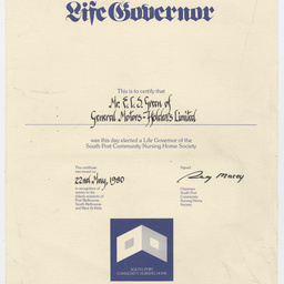 Life Governor certificate for E.C.S. Green of GM-H