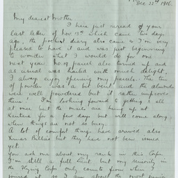 Letter from Ross Smith in Egypt camp during World War I to his mother