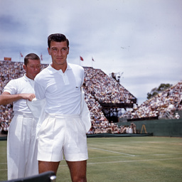 Vic Seixas and Bill Talbot at the Davis Cup, Adelaide