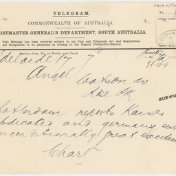 Telegram reporting the Kaiser's abdication