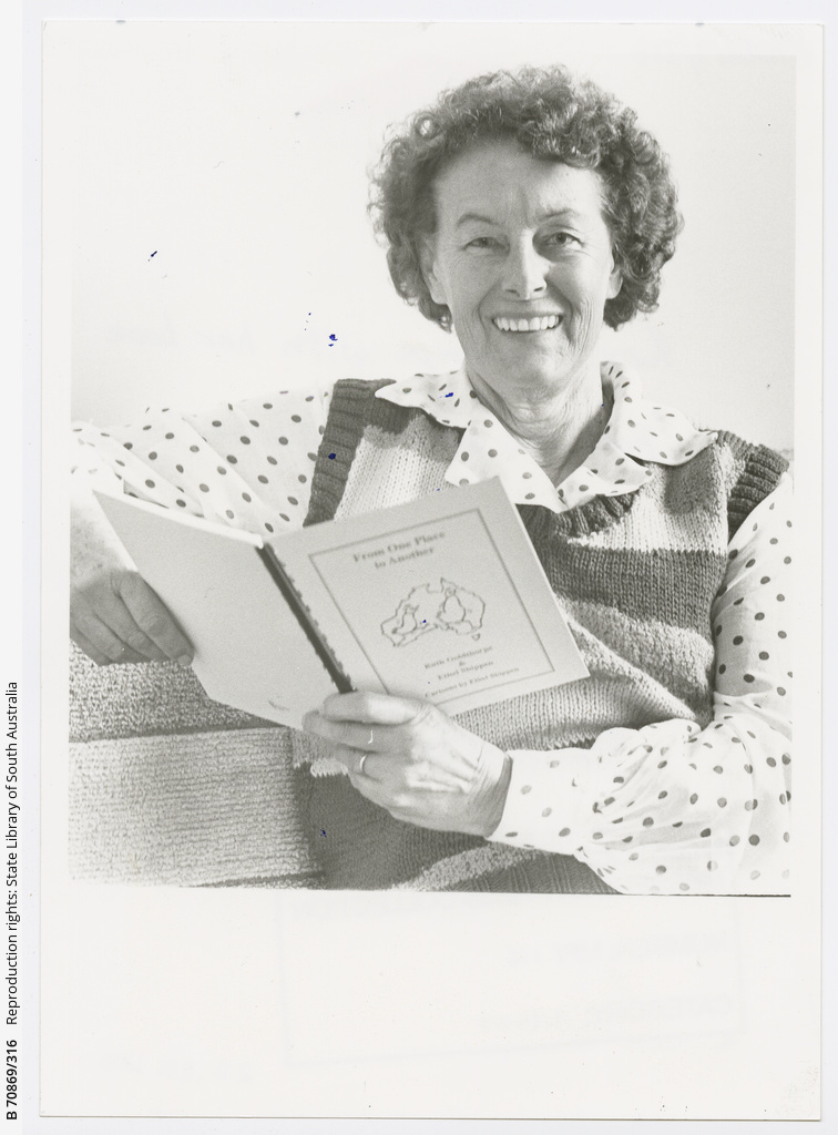 Para Hills author and poet Ruth Goldthorpe with her new book 'From one place to another' which she co-authored with Ethel Shippen. 29 June 1988.