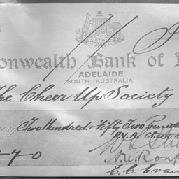A cheque for the Cheer Up Society