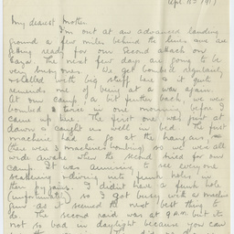 Letter from Ross Smith during World War I, Syria, to his mother
