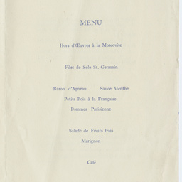Menu of a luncheon at the Hyde Park Hotel, Knightsbridge.