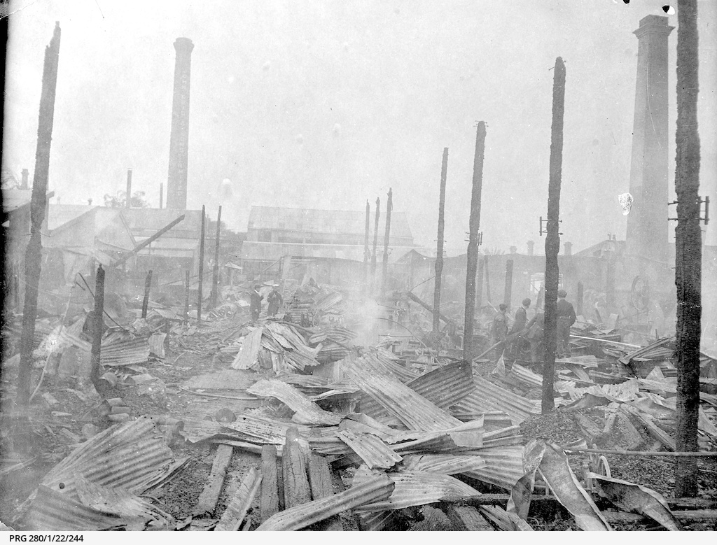 Destruction caused by fire at a timber yard in Port Adelaide