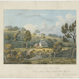 A View of J. Barton Hack Esqr's Farm, Echiunga (sic) Springs Mount Barker, South Australia.
