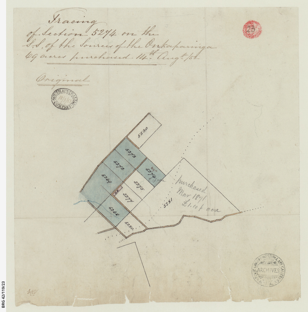 Tracing of section 5274 on the S.S. of the Sources of the Onkaparinga [cartographic material]