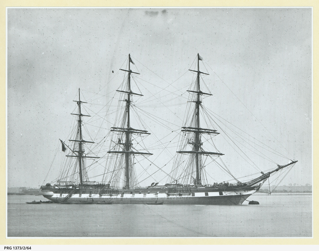 The 'Agamemnon' moored at Gravesend, U.K.