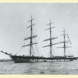 The 'Mermerus' anchored in an unidentified port