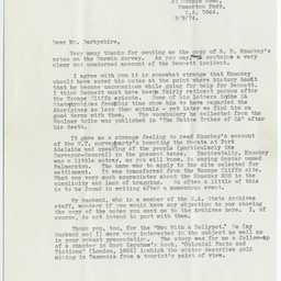 Letter from R.R. Knuckey