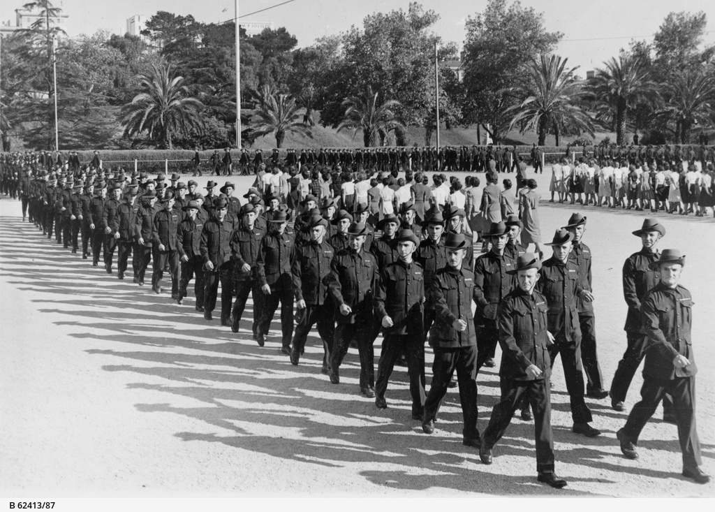 Volunteer Defence Corps in S.A.: march past at Torrens parade ground