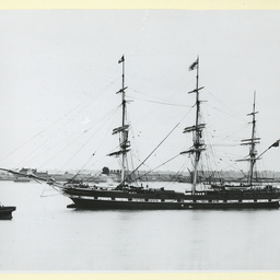 The 'Hampshire' moored at Gravesend, U.K.