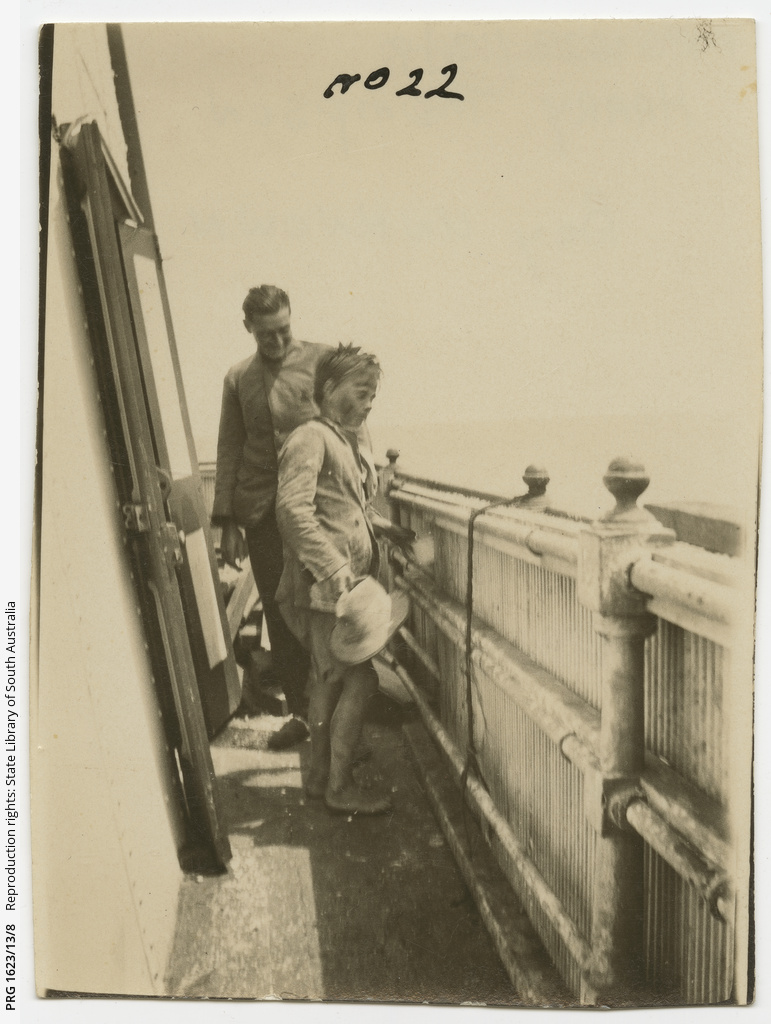Harry L'Estage Thompson and unknown boy at Tiparra Lighthouse, South Australia