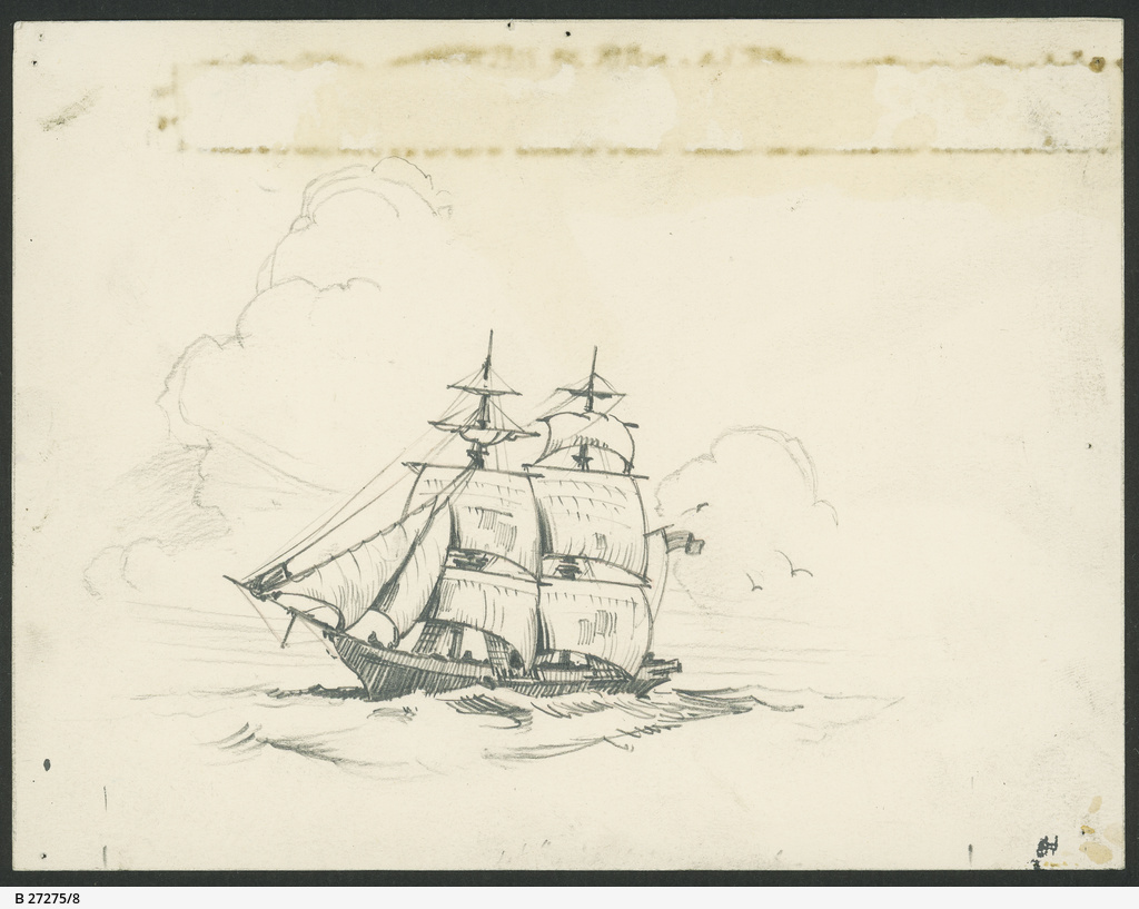 Pencil sketch of a sailing ship • artwork • state library of south