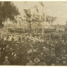 Laying foundation stone for the Exhibition Building