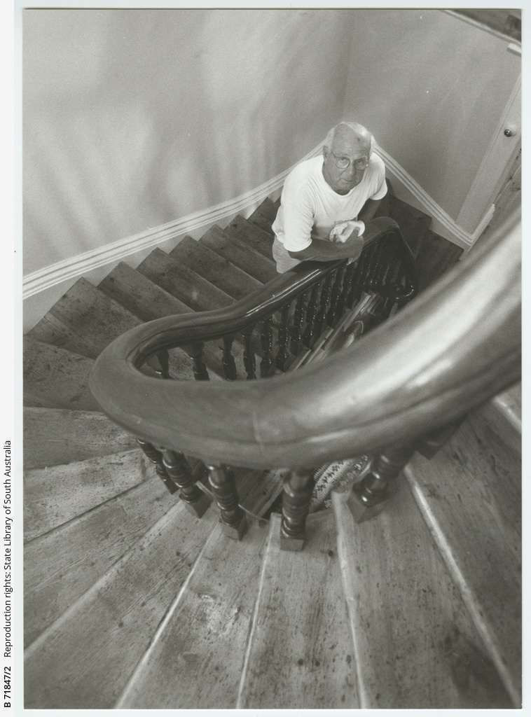 Geoff Adams on the staircase inside St. John's Anglican Church, Adelaide