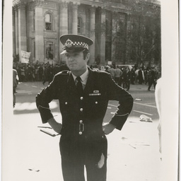 Policeman at the Vietnam War Moratorium rally