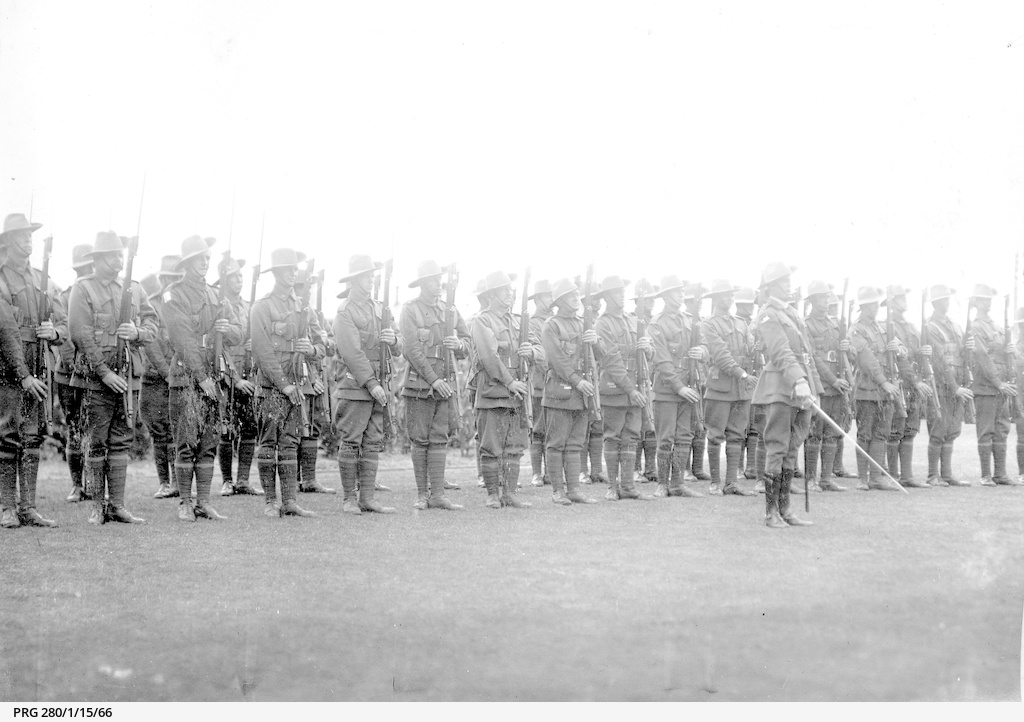 Troop of soldiers standing to attention with fixed bayonets