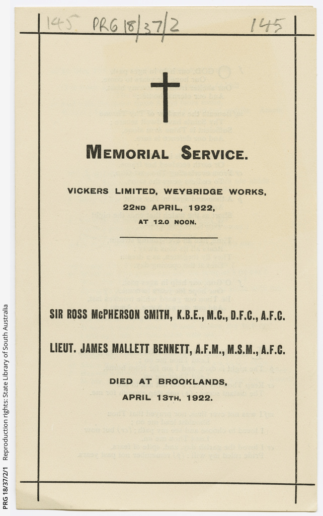 Leaflet for a memorial service for Sir Ross Smith and Lieutenant James Bennett.