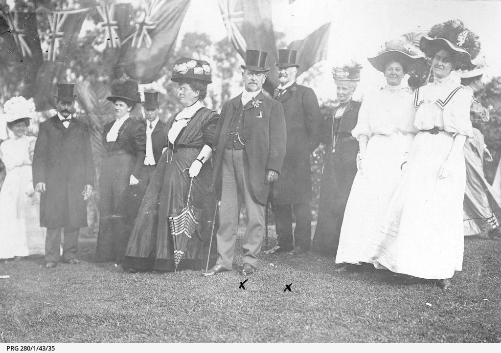Arthur and Alfred Searcy at a garden party