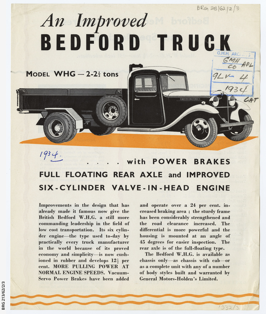7ef7e3d987 Bedford improved WHG truck sales leaflet • Manuscript • State ...