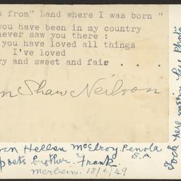 Verso of John Shaw Neilson portrait