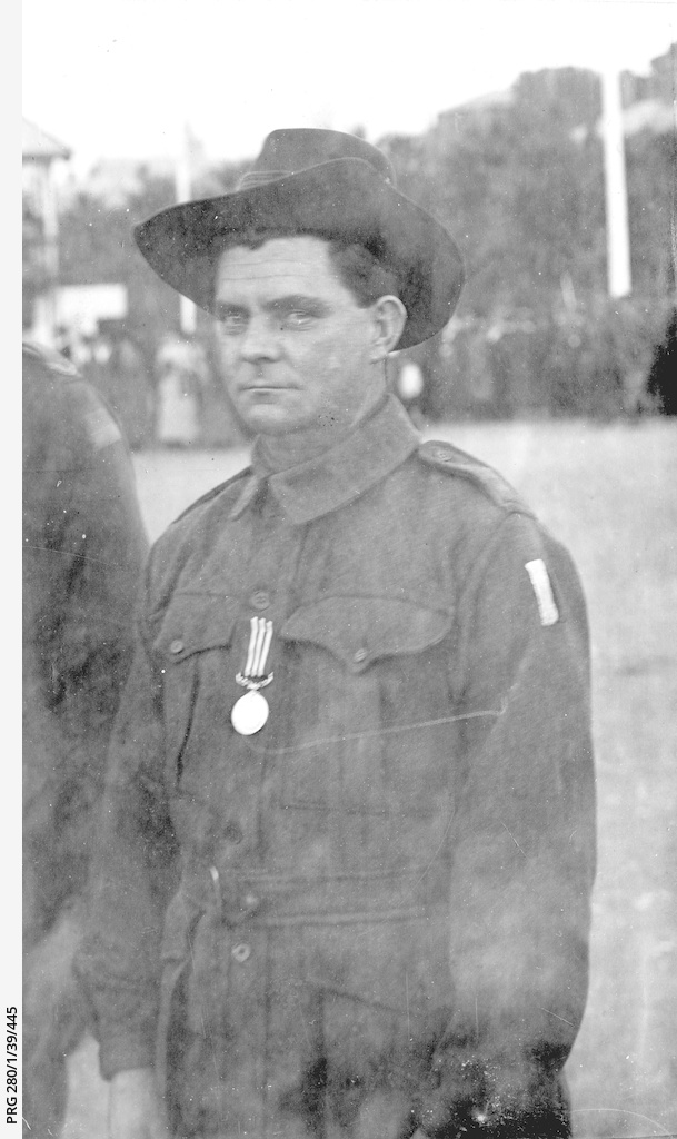 A soldier wearing a new medal