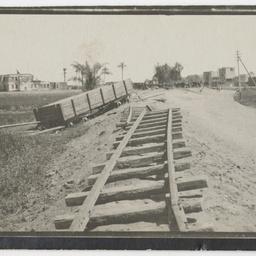 Destroyed railway line near Zagazig, Egypt.