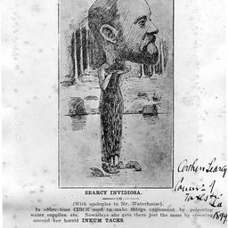 A satirical cartoon of Arthur Searcy