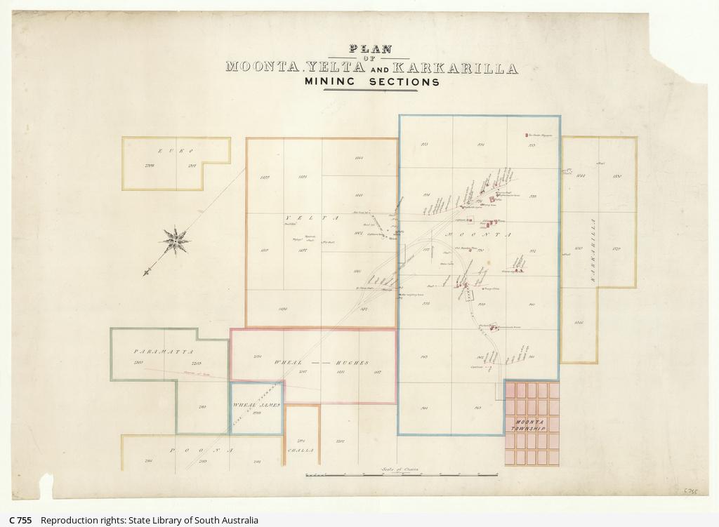 Plan of Moonta, Yelta and Karkarilla mining sections [cartographic material]