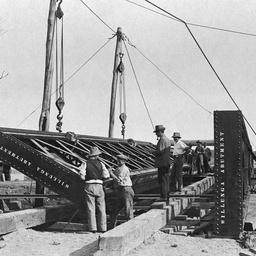 Construction work on a railway bridge