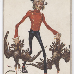 Postcard of soldier carrying dead eagles.