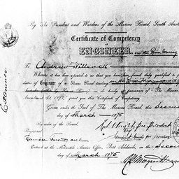 Engineer Andrew Willcock's certificate for River Murray