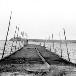 Remains of the Narrung Jetty with Point Malcolm opposite