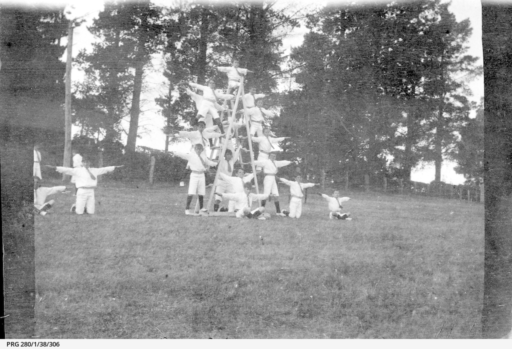 Boys performing a gymnastic display