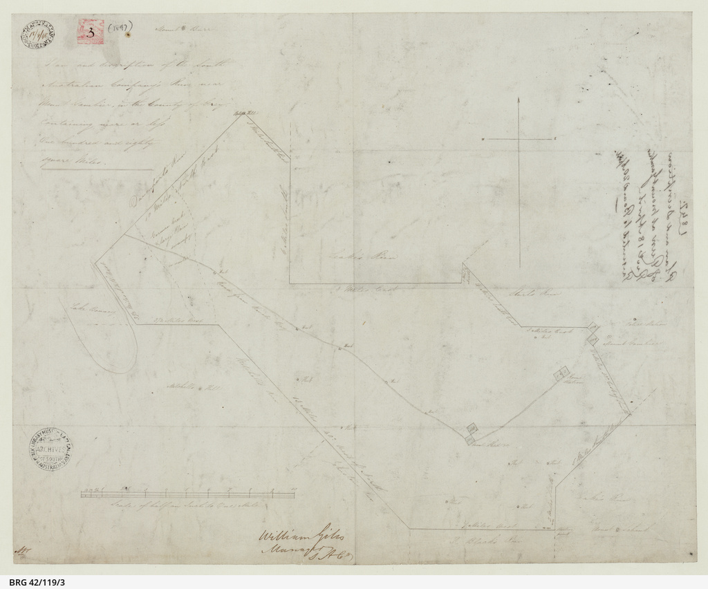 Plan and description of the South Australian Company's Run near Mount Gambier [cartographic material]