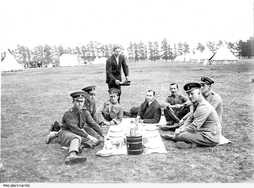 Artillery officers enjoying a picnic breakfast