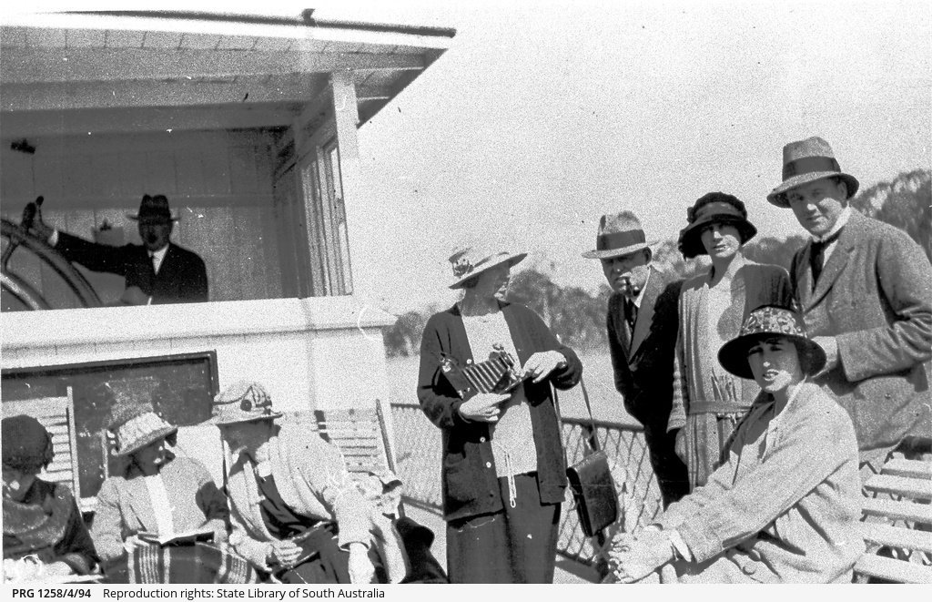 Captain Alexander and passengers on P.S. Gem