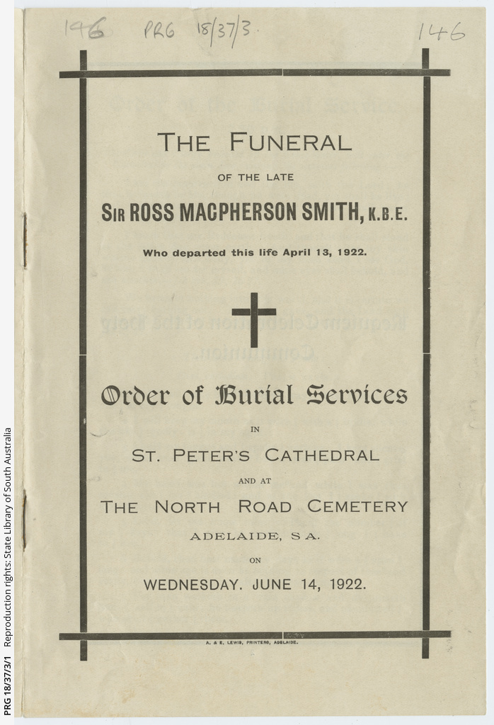 Order of Burial Services for Sir Ross Smith.