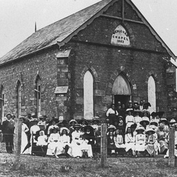Members of the congregation outside the Wesleyan Chapel at Sellicks Hill