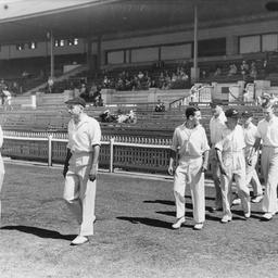 Cricket team taking the field