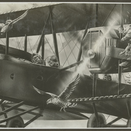 Painting of Vickers Vimy in flight.