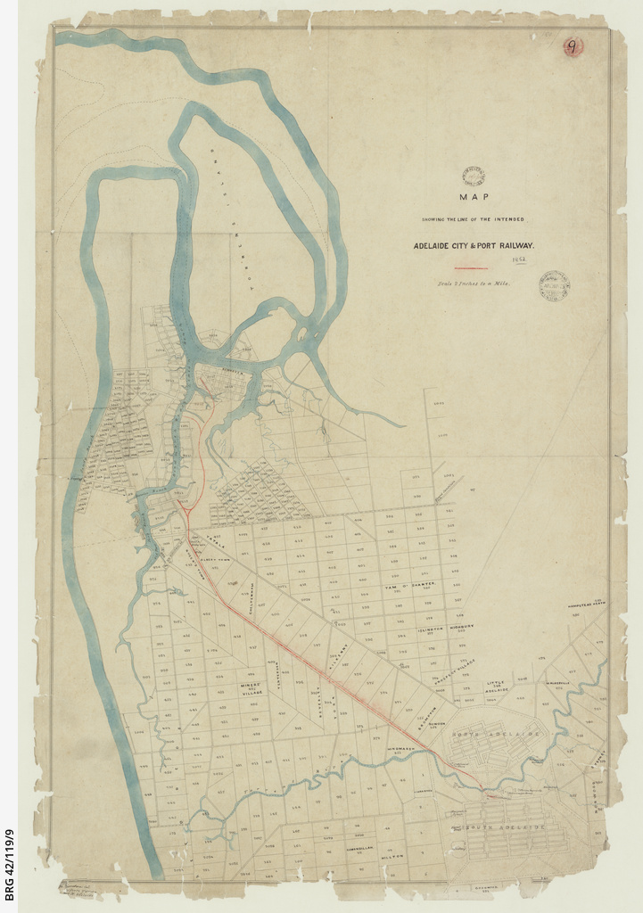 Map shewing the line of the intended Adelaide City and Port Adelaide Railway [cartographic material]