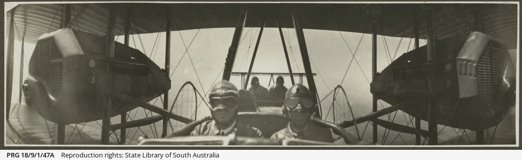 Vickers Vimy crew during flight.