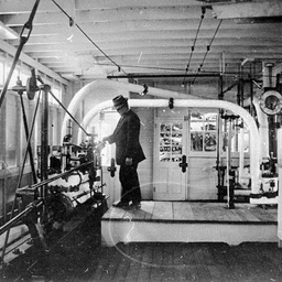 The engine room of stern wheel paddle steamer Captain Sturt